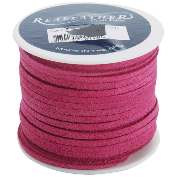 "Realeather Crafts Suede Lace .125""X25yd Spool-Pink"