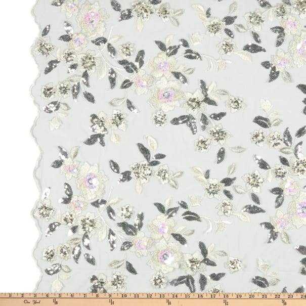 Floral Mesh Lace Embroidery White