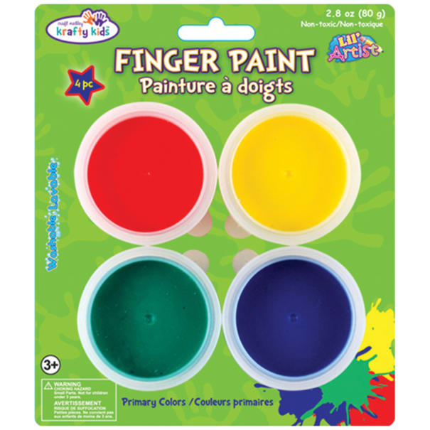 Finger Paint Tubs .7oz 4/Pkg-Primary, Pack of 6