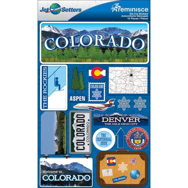 """Jet Setters Country Dimensional Stickers 4.5/""""x7.5/""""-china"""