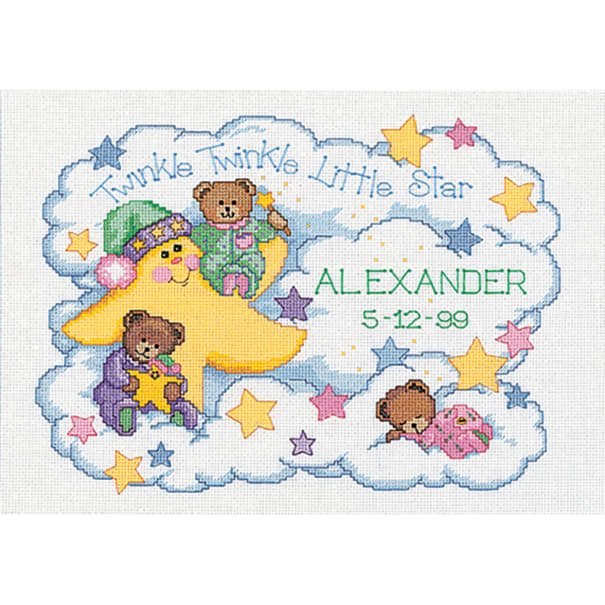 """Dimensions Counted Cross Stitch Kit 14""""X10""""-Twinkle Twinkle Birth Record (14 Count)"""