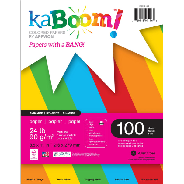 "Appvion Kaboom! Colored 24lb Paper Pack 8.5""X11"" 100 Sheets-Dynamite, 5-Color Assortment"