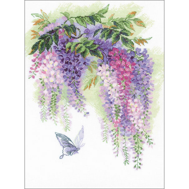 """RIOLIS Counted Cross Stitch Kit 11.75""""X15.75""""-Wisteria (14 Count)"""