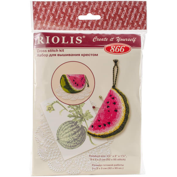 "RIOLIS Counted Cross Stitch Kit 3.5""X2""X1.25""-Watermelon Pincushion (15 Count)"