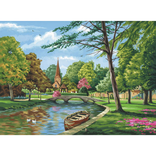"""Brush Painting by Numbers Kit Board /""""Church by the River/"""" Includes Paints"""