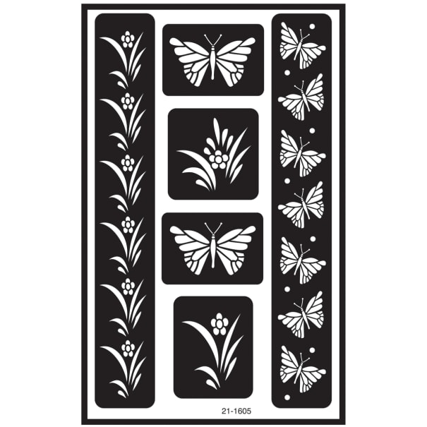 "Over 'N' Over Reusable Stencils 5""X8""-Butterfly"