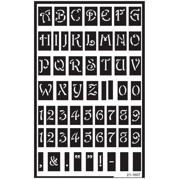 """Over 'N' Over Reusable Stencils 5""""X8""""-Large Alphabet"""
