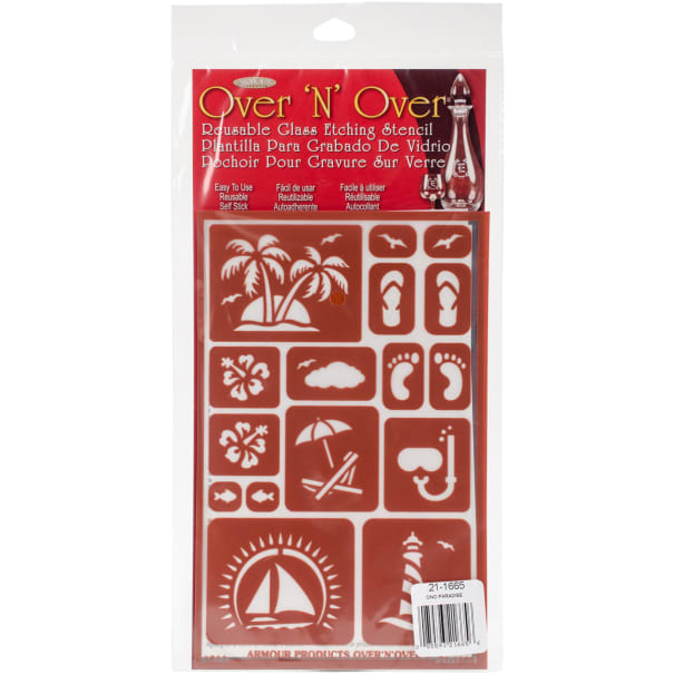 """Over 'N' Over Reusable Stencils 5""""X8""""-Paradise"""