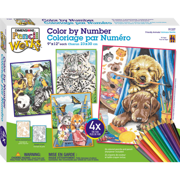 PAINTWORKS 91337 PENCIL BY NUMBER 9X12 FRIENDY ANIMAL4PK