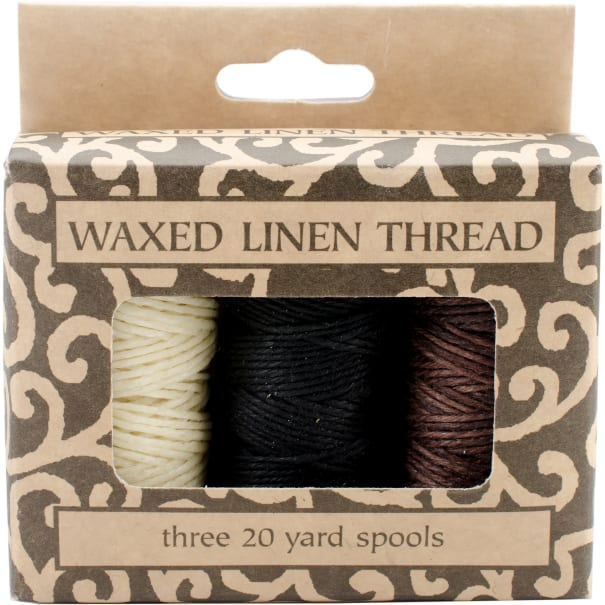 Lineco Waxed Linen 5 Ply Thread 3/Pkg-Natural, Brown, Black; 20yds Each