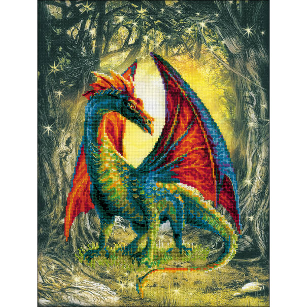 """RIOLIS Stamped Cross Stitch Kit 11.75""""X15.75""""-Forest Dragon (14 Count)"""