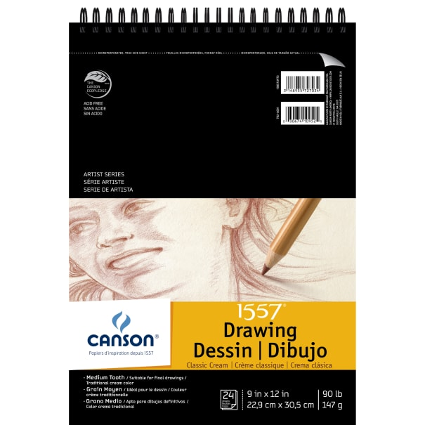 """Canson Artist Series Drawing Pad 9""""X12""""-Classic Cream 24 Sheets"""