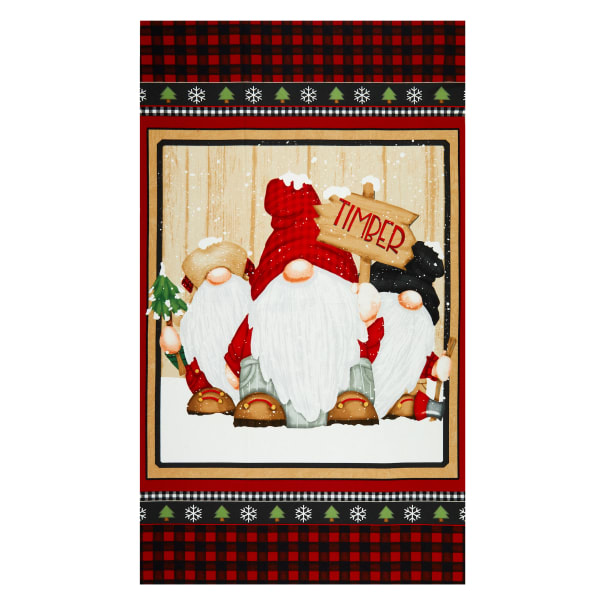 """Henry Glass Flannel Gnomies Gnome 24"""" Panel Multi"""