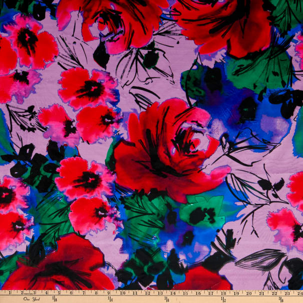 E.Z. Fabric Minky Large Roses and Flowers Blue