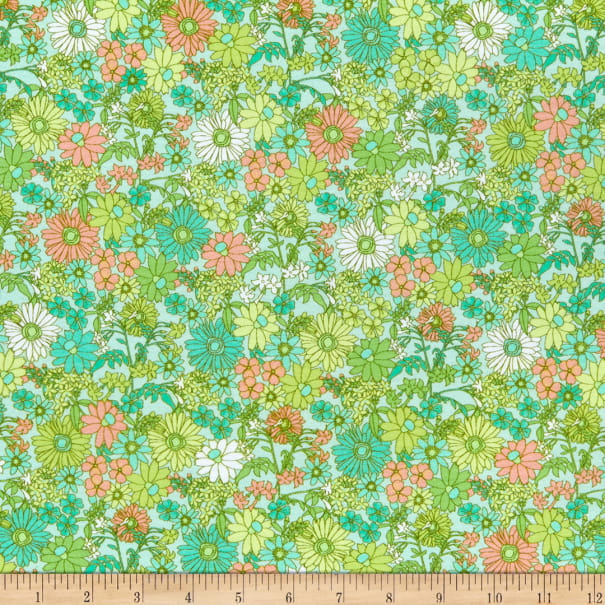 Kaufman Laguna Stretch Cotton Jersey Knit Prints Scattered Flowers Sweet Pea