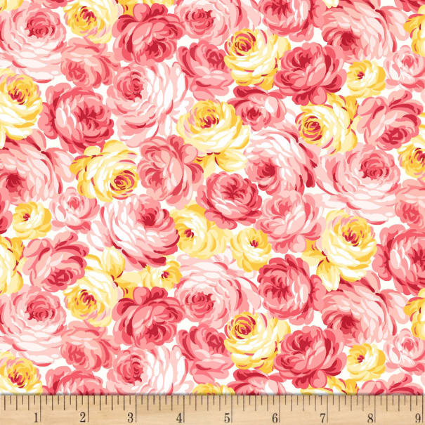 Michael Miller Fabrics Country Cottage Garden Roses Peach