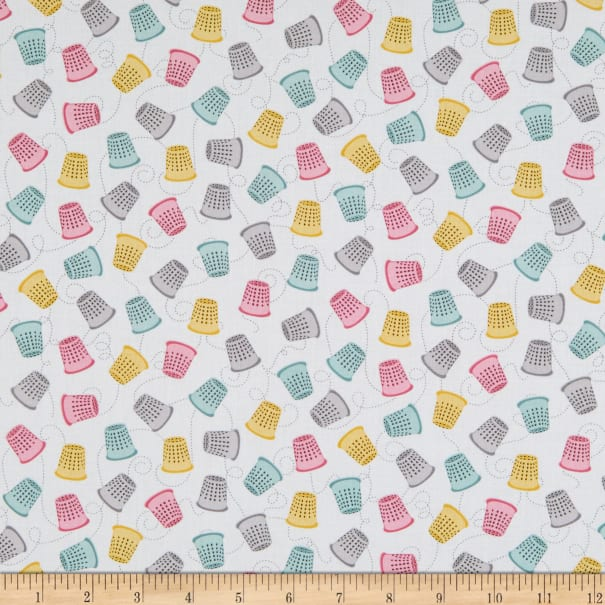 Contempo Words To Quilt By Thimble Fest White