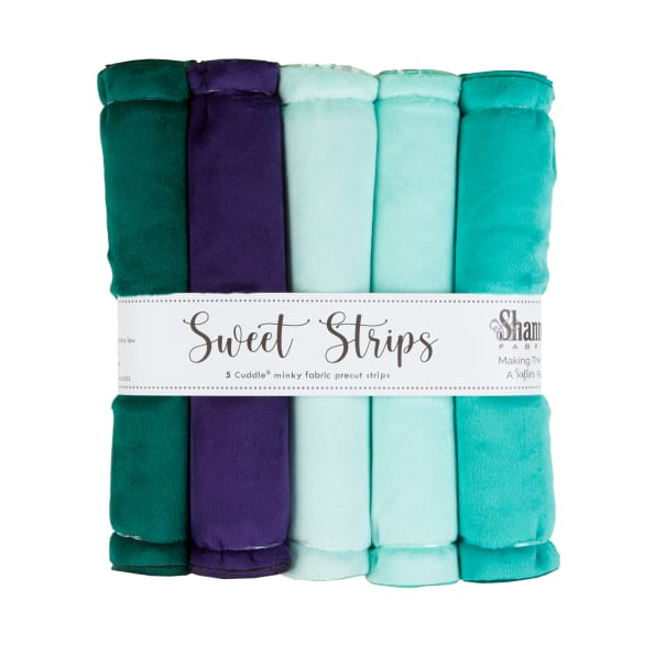 """Shannon Minky Cuddle Solid 10"""" Strips 5 Pack Green"""