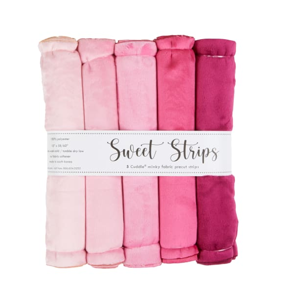 """Shannon Minky Cuddle Solid 10"""" Strips 5 Pack Pink"""