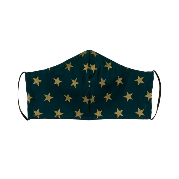 Fabtrends Cotton Poplin Facemask Metallic Stars Green/Gold