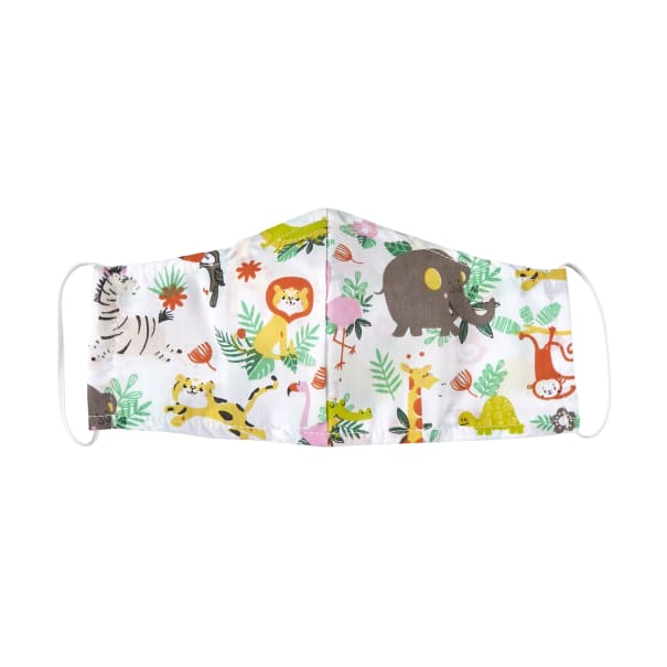 Fabtrends Poly Cotton Facemask Zoo Animal White