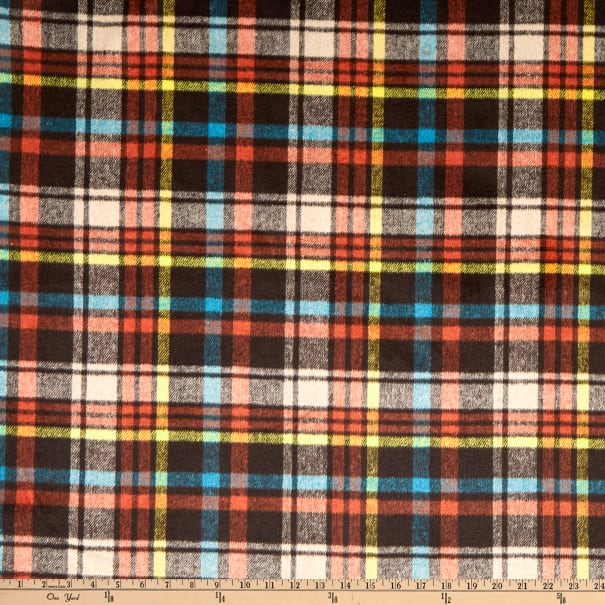 Fabric Merchants Plaid Wool Melton Brown/Yellow/Blue