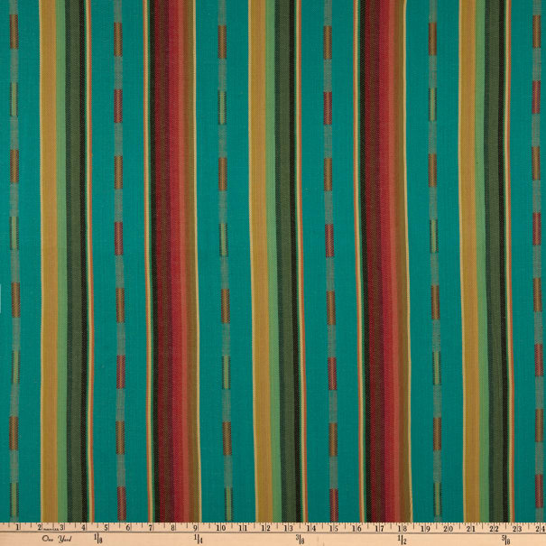 Tribal Stripe Woven Dobby Teal/Red/Yellow