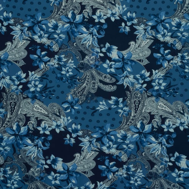 Fabtrends DTY Floral Paisley Navy Denim White