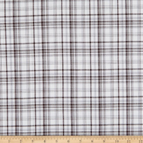 Aria Stretch Cotton Poplin Plaid Metallic Black