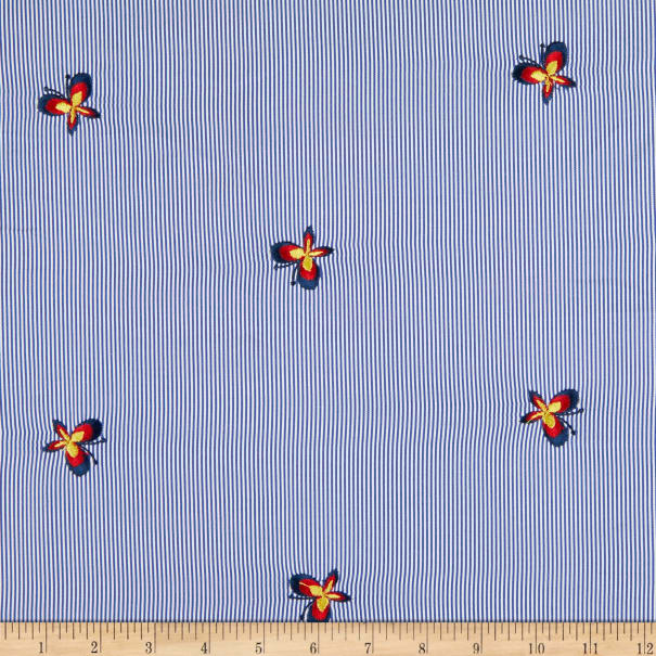 Cotton Poplin Butterfly Embroidery Blue