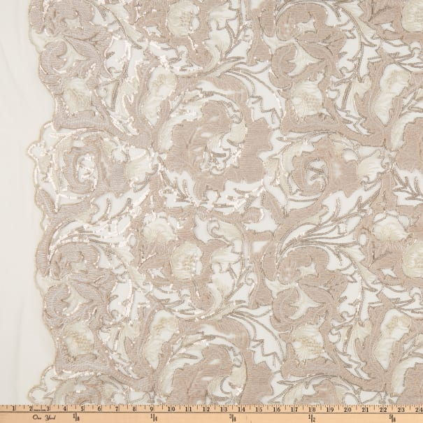Chenille Mesh Embroidery Floral Champagne