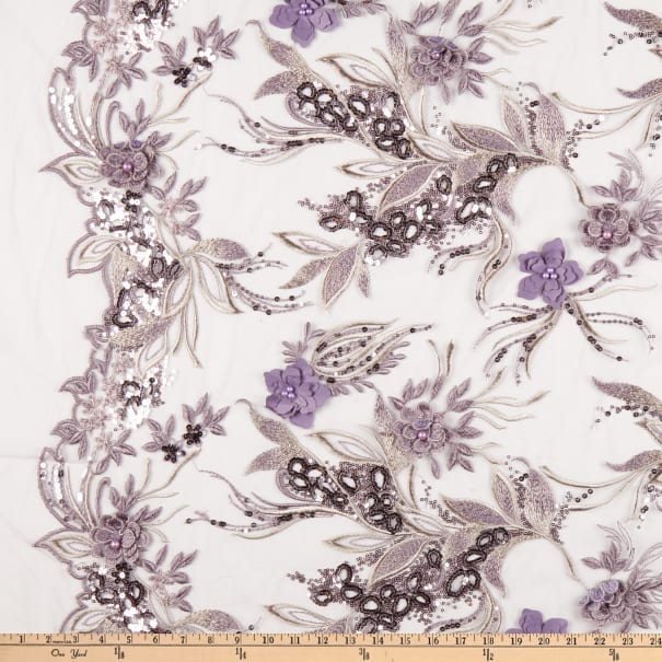 Fancy Embroidery Lace Lilac