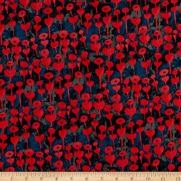 Cotton+Steel Once Upon a Time Rayon Challis Love Flower Cherry