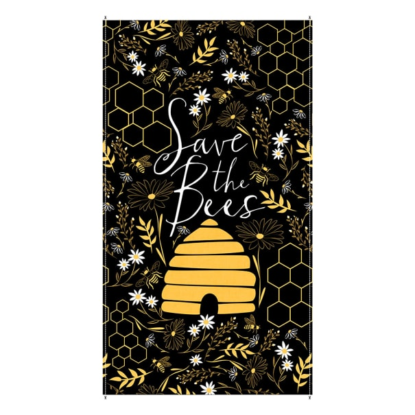 """Timeless Treasures Save The Bees Hive 24"""" Panel Black"""