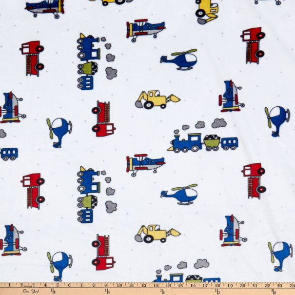 Minky Plush Print Away We Go Snow/Navy
