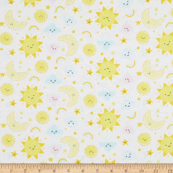 Camelot Cheerful Sky Flannel White
