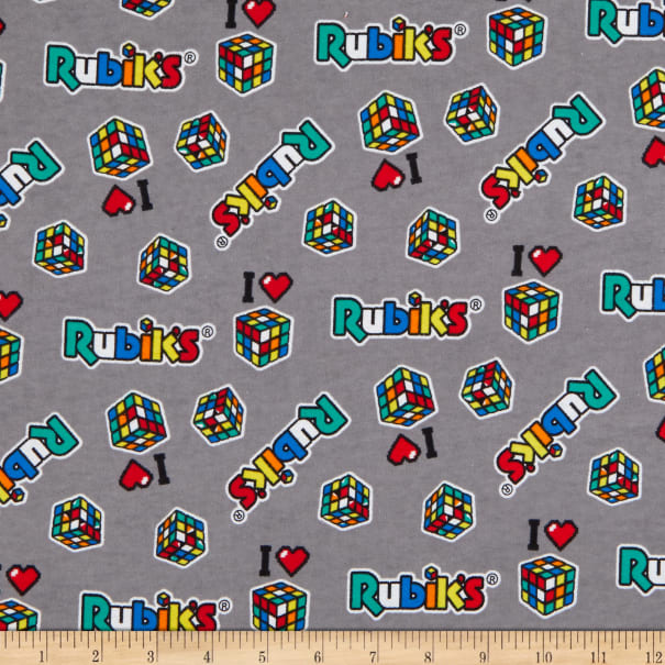 Rubik's Cube Patches Flannel Light Grey