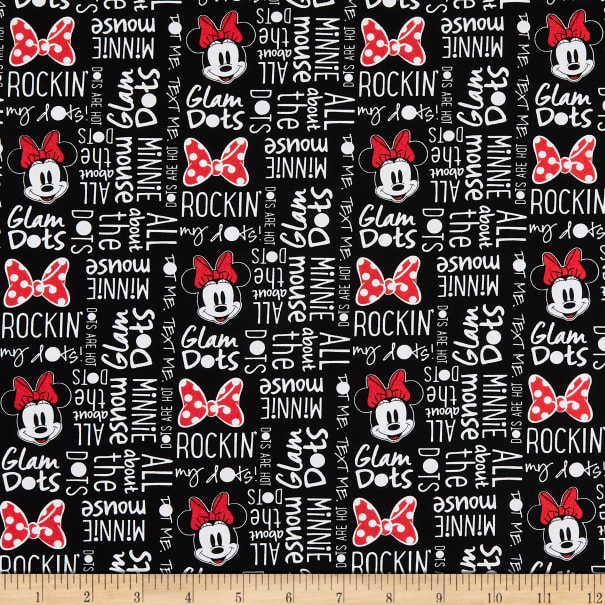 100/% COTTON Disney Minnie Mouse All About Dots in Black Minnie Mouse Dreaming in Dots Collection Licensed Fabric Quilting Fabric