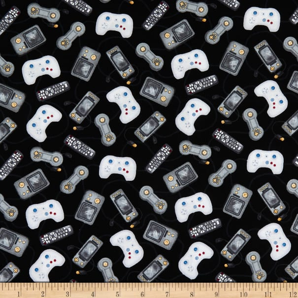 Man Cave by Windham Fabrics 52415-6 Fabric by the yard. Video game controllers and remote controls all over creamwhite