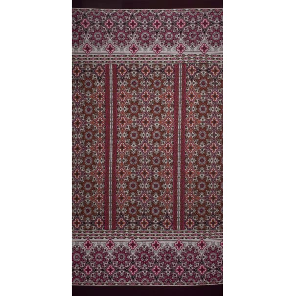 Fabtrends Ity Double Border Medallion Rust Wine