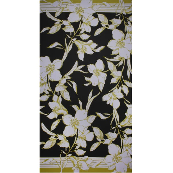 Fabtrends Ity Double Border Floral Chartreuse