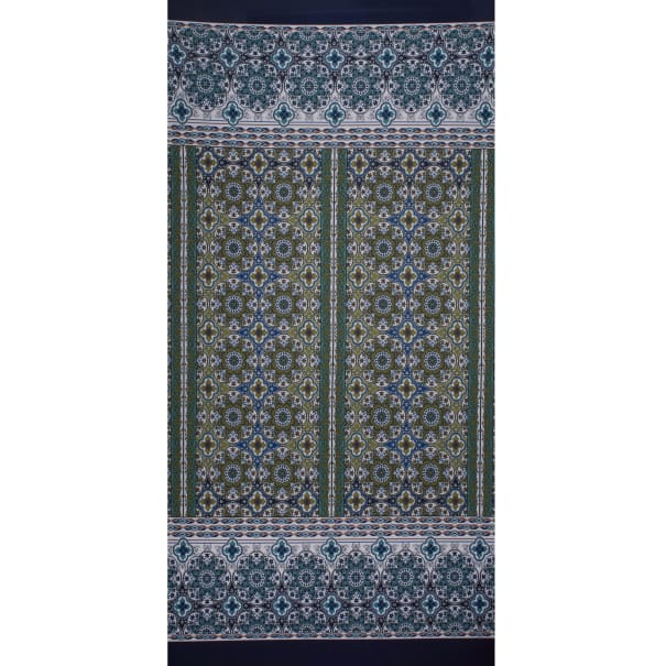 Fabtrends Ity Double Border Medallion Teal Olive