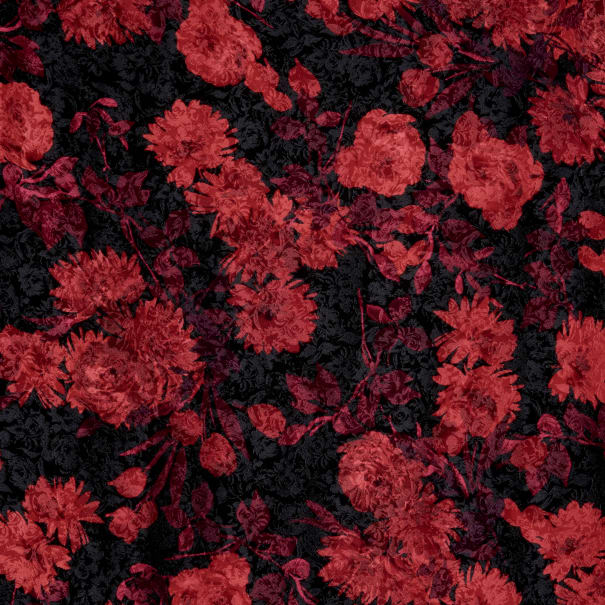 Fabtrends Satin Jacquard Allover Floral Flame