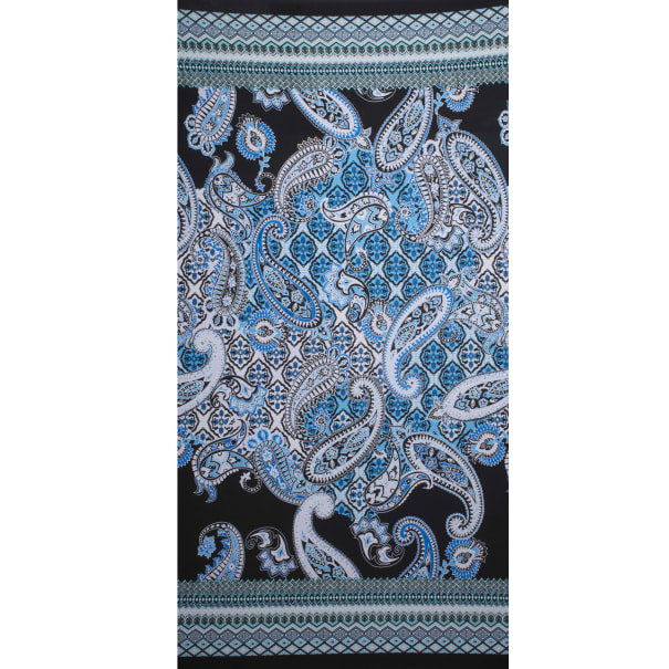 Fabtrends Ity With Puff  Border Bandana Paisley Black Coral