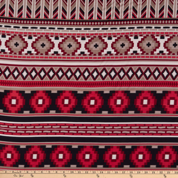 ITY Stretch Knit Abstract/Geometric Aztec Inspired Red