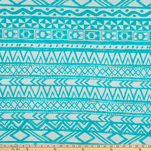 ITY Stretch Knit Abstract/Geometric Aztec Teal