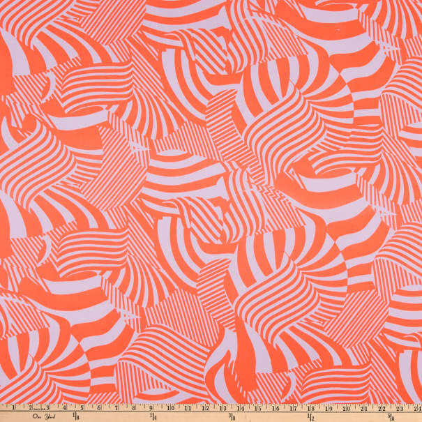 ITY Stretch Knit Abstract/Geometric Lines Orange