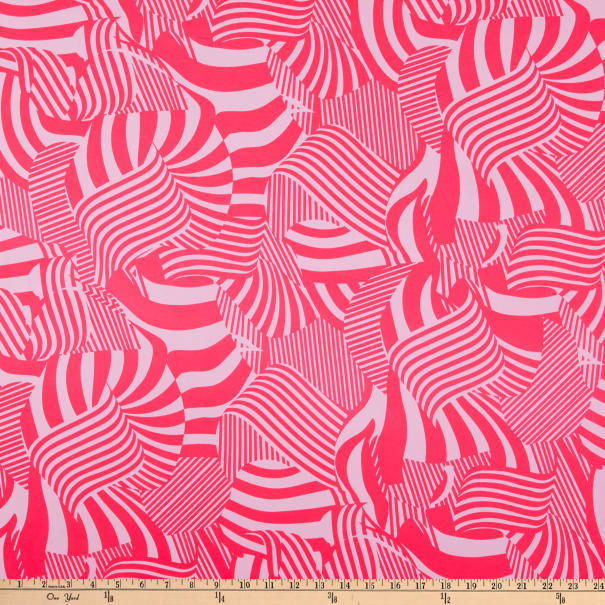 ITY Stretch Knit Abstract/Geometric Lines Pink