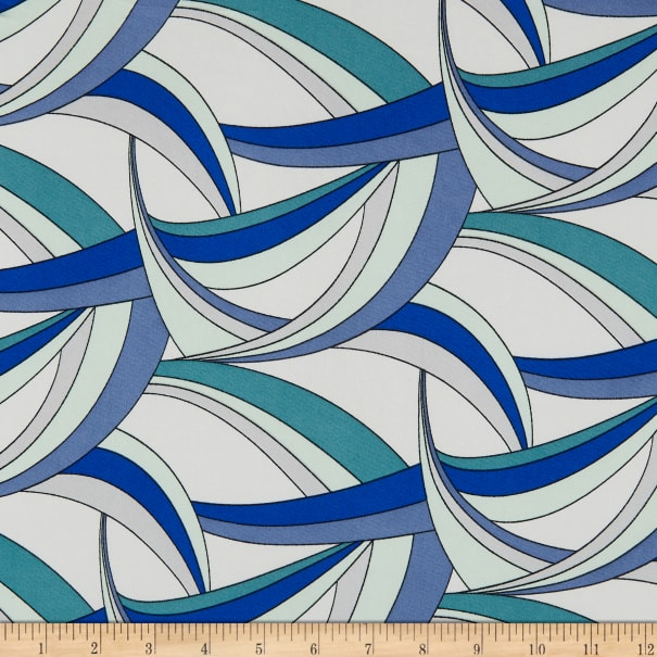 ITY Stretch Knit Abstract/Geometric Arches Blue