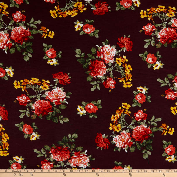 Rayon Stretch Jersey Knit Floral Maroon/Red/Yellow